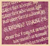 The Prayer of St Francis of Assisi - gothic script